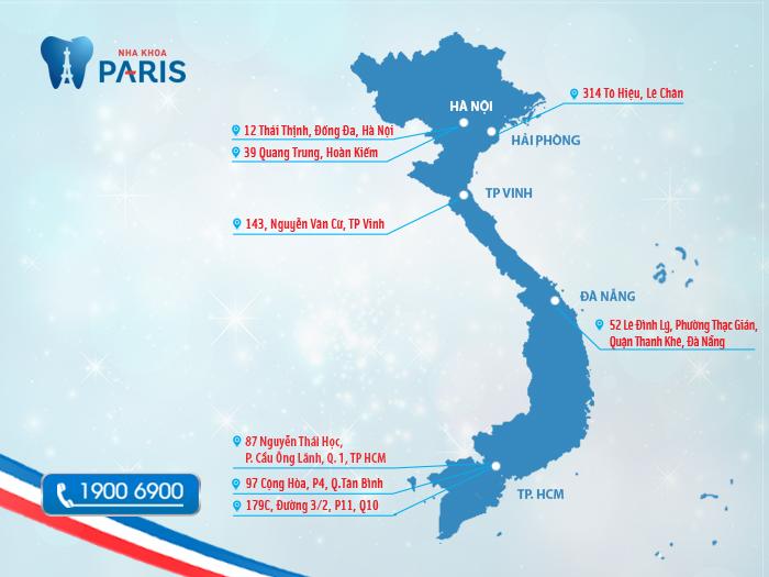 Chuỗi hệ thống nha khoa Paris trên toàn quốc