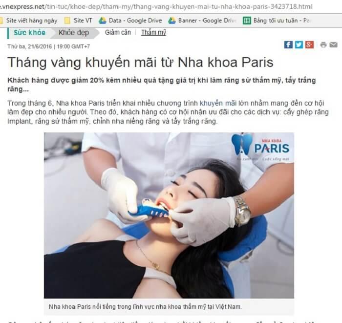 Báo chí nói về nha khoa Paris